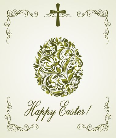 pasch: Easter greeting card with vintage floral olive egg shape