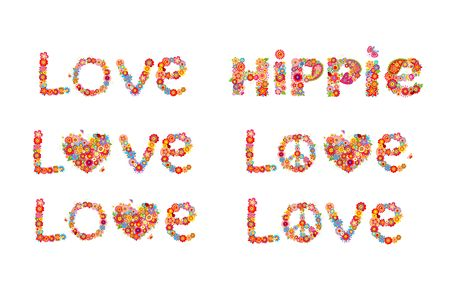 flowerpower: Flowers print with peace flower symbol, love and hippie word Illustration