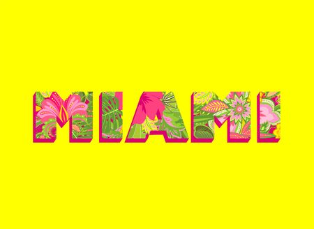 paradise beach: Poster with Miami floral colorful lettering