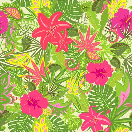 Summery tropical wallpaper with colorful leaves and flowers