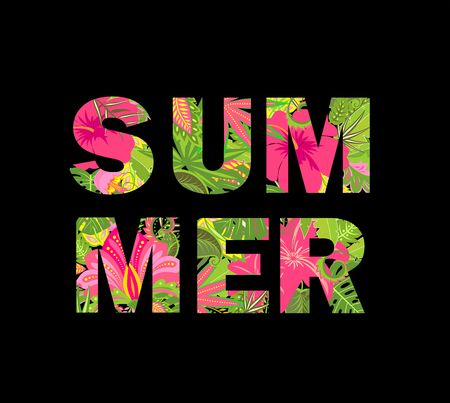 T-shirt print with floral summer lettering isolated on black background
