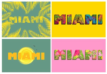 T-shirt prints with Miami lettering and palm leaves Illustration
