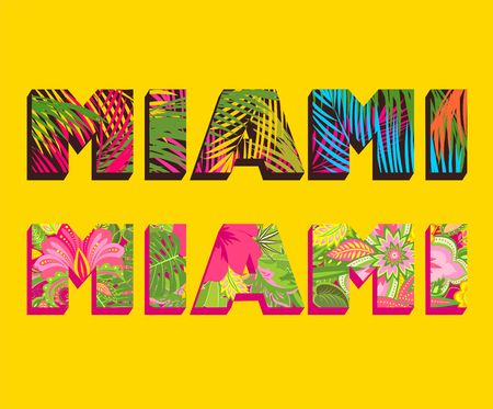T-shirt prints with Miami lettering with palm leaves and exotic flowers Illustration