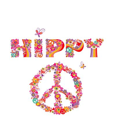 Psychedelic hippy lettering with colorful abstract flowers, eyes, fly agaric and peace symbol isolated on white background