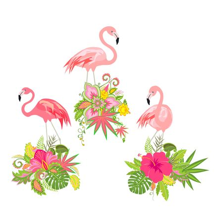 Beautiful floral design with exotic flowers and pink flamingo