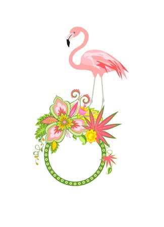 Frame with exotic flowers and pink flamingo Vetores