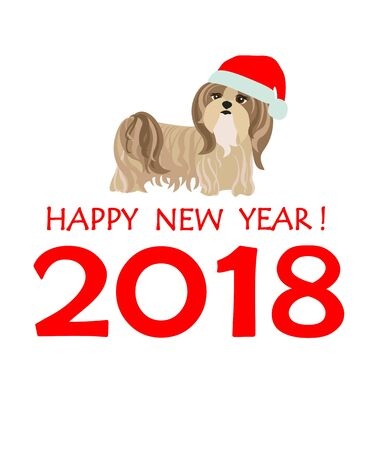 tsu: Greeting card with puppy of Yorkshire terrier for Chinese New year 2018 Illustration