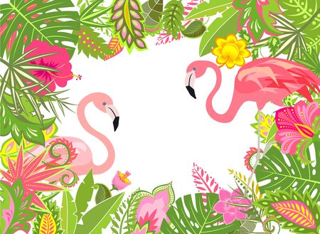 Summery holiday frame with exotic leaves, lily and pink flamingo