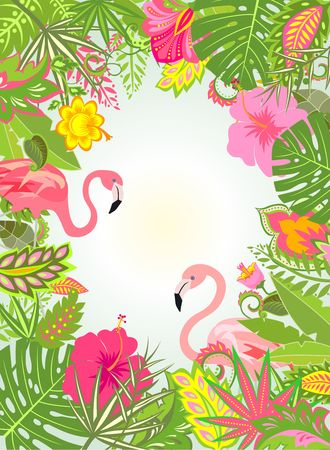 Summery vertical frame with exotic flowers and pair of pink flamingo Illustration