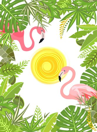 Tropical green flowers frame with pair of pink flamingo Illustration