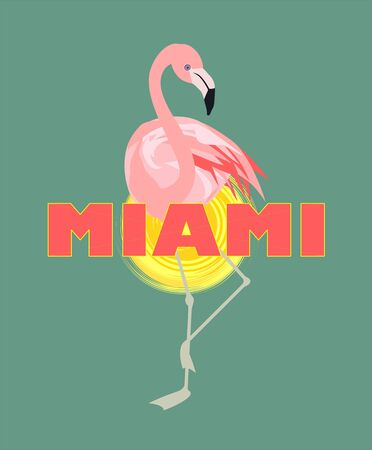 T-shirt print with Miami lettering, sun and pink flamingo Art deco style Illustration