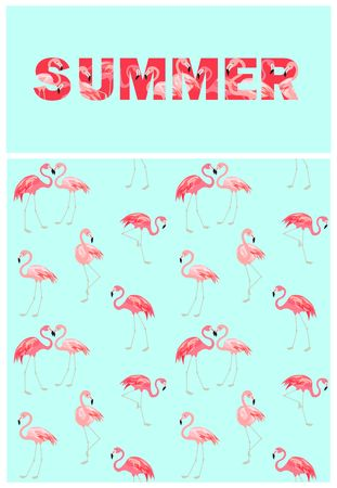 Fashion design with flamingo print and summer lettering