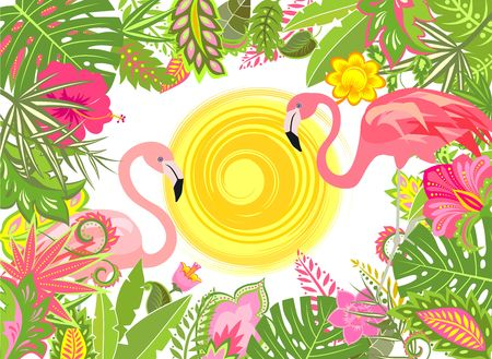 Summery holiday background with exotic flowers, sun and pink flamingo Illustration