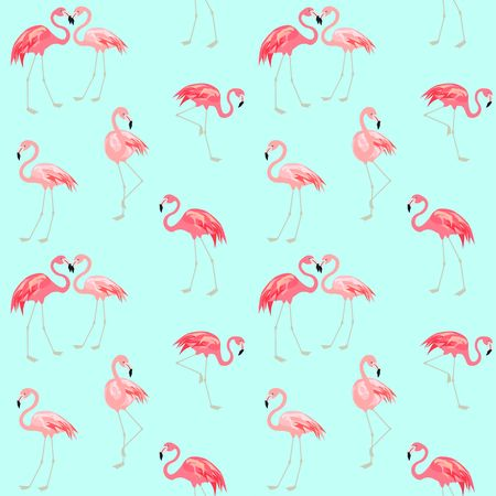 Wallpaper with cute pink flamingo Illustration