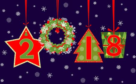 Banner for 2018 New Years holiday with paper applique