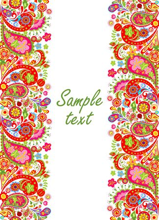 Decorative seamless border with colorful abstract flowers print on black background Illustration