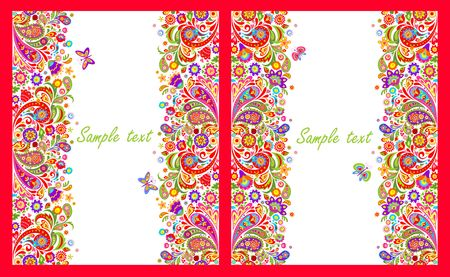 borders abstract: Greeting cards with seamless decorative borders with colorful abstract flowers print on white background