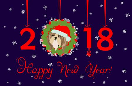 tsu: Greeting decorative card with puppy of shi tsu, hanging numbers and paper wreath for Chinese New Year 2018