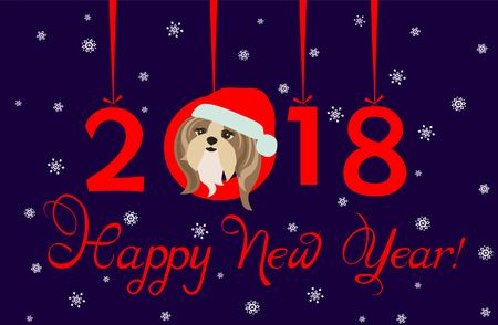 tsu: Happy New Year 2018 greeting banner with hanging xmas paper numbers and funny puppy Illustration