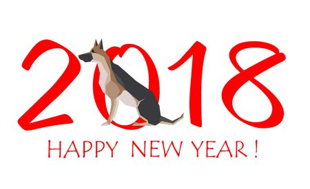 Greeting card for New Year 2018 with sitting Dog German shepherd