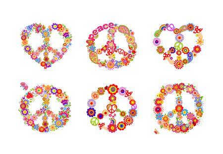 Hippie peace flowers symbols collection