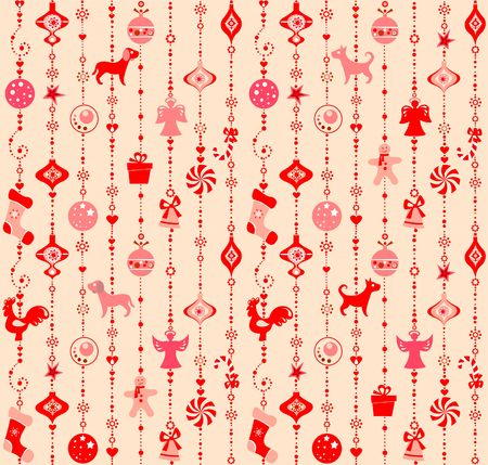 Christmas wallpaper with funny red cut out hanging toys