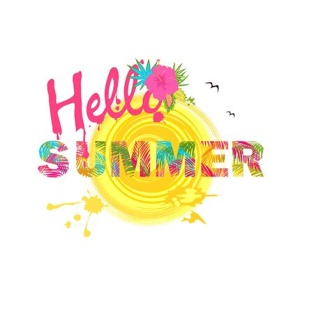 Hello summer lettering with colorful palm leaves and hibiscus on white background. T-shirt fashionable print
