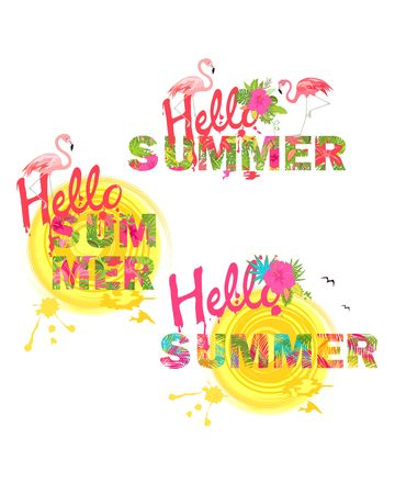 Summery prints collection with hello summer lettering, tropical flowers, sun and flamingo