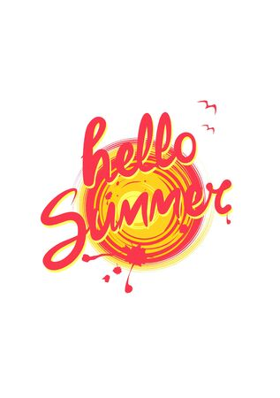 Hand drawn hot print with hello summer lettering, sun and seagull
