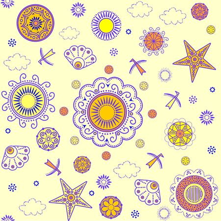 decorative wallpaper: Retro summery decorative wallpaper with abstract pattern