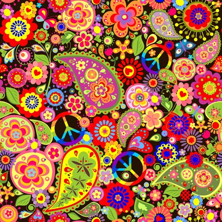 Funny childish floral wallpaper with colorful hippie peace symbol.