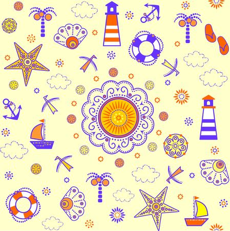 Funny summery abstract decorative childish wallpaper with nautical pattern. Illustration