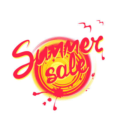 Summer sale lettering on abstract sun painted print