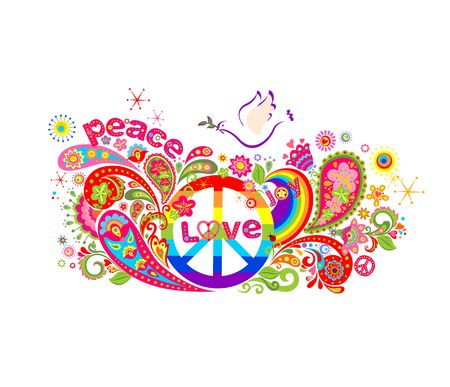 Colorful poster with abstract flowers, rainbow, hippie peace symbol and dove Illustration