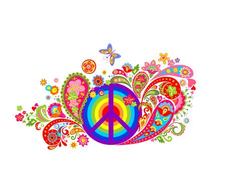 Print with hippie peace symbol with vintage colorful flowers pattern and rainbow Illustration
