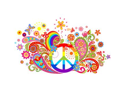 T-shirt colorful print with abstract flowers, hippie peace symbol and rainbow