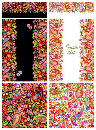 Design collection with colorful ethnic flowers and paisley pattern Illustration