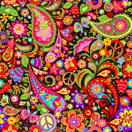 Hippie vivid decorative wallpaper with colorful flowers, hippie peace symbol and paisley 免版税图像 - 82796437