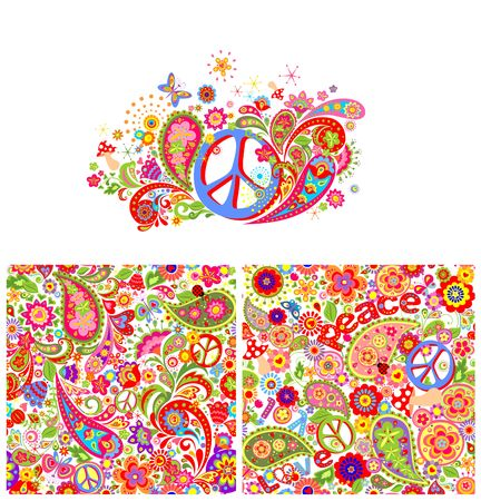 T-shirt print with hippie peace symbol and hippie wallpaper with colorful abstract flowers, mushrooms and paisley Illustration