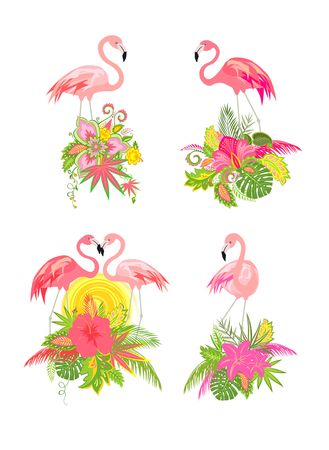 Beautiful design collection with exotic floral bouquets and flamingo