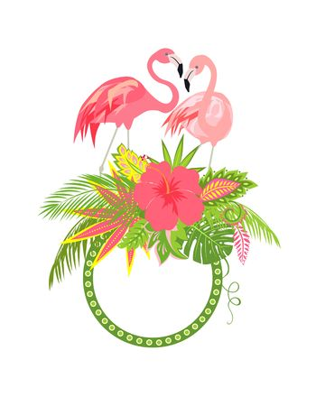 Beautiful floral frame with exotic flowers, tropical leaves and a pair of lovely pink flamingo for wediing design, greeting card and invitations Illustration