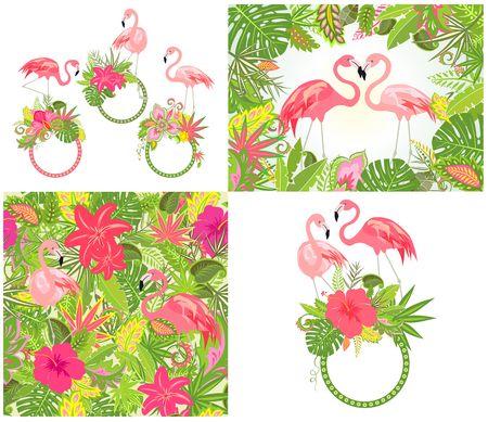 이국적인 꽃, 열대 잎 및 분홍색 플라밍고가있는 아름다운 결혼식 디자인 및 벽지