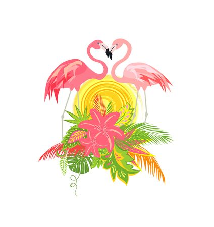 Beautiful wedding Hawaiian design with pair of lovely flamingo, sun, tropical leaves and flowers Illustration