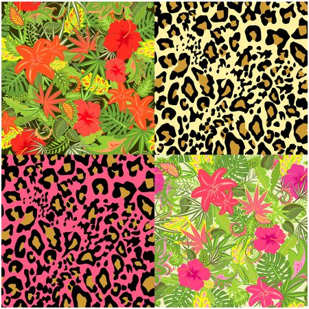 Collection of decorative floral seamless background with exotic flowers, tropical leaves, animal print for fabric, textile, wrapping paper, wallpaper, web design Illustration