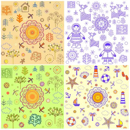 Seasonal backgrounds collection with abstract pattern for fabric, textile, wrapping paper, card, invitation, wallpaper, web design