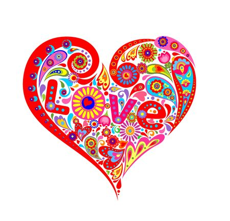 T-shirt print with abstract heart-shaped floral pattern with colorful flowers and paisley