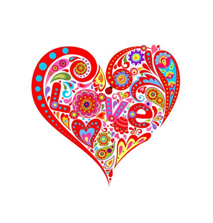 T-shirt print with lovely heart shape with abstract floral pattern