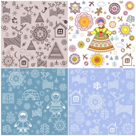 Winter backgrounds collection with abstract pattern for fabric, textile, wrapping paper, greeting card, invitation, wallpaper, web design Illustration