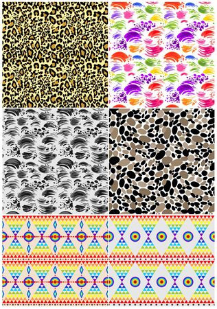 Abstract seamless pattern collection with strokes, animal print, abstract pebbles pattern and ethnic geometric print for fabric, textile, wrapping paper, wallpaper, web design