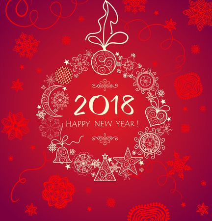 Greeting red card for 2018 Illustration
